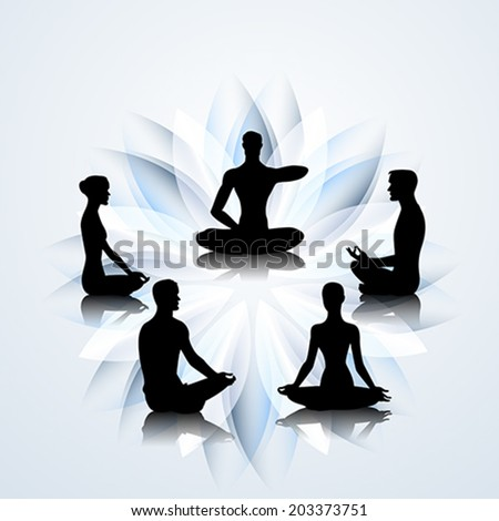 Male and female yoga silhouettes on the lotus background - stock vector