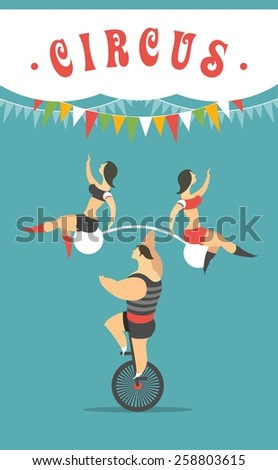 Male athlete balancing on unicycle and holding rod with duvumya girls acrobats - stock vector