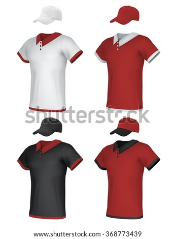 Male blank uniform polo and baseball cap template set. - stock vector