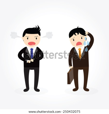 Male boss angry at an employee late for work. - stock vector
