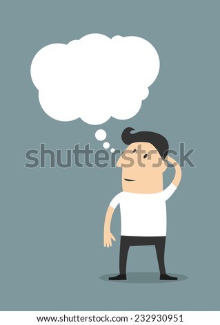 Male cartoon character wearing casual clothes while standing up and thinking with a blank thought bubble - stock vector