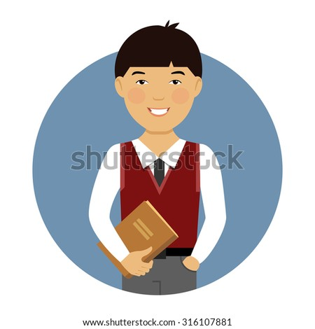 Male character, portrait of smiling Asian schoolboy holding book - stock vector