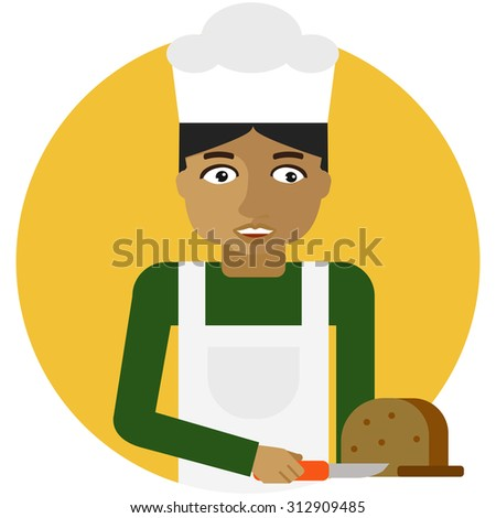Male character, portrait of young baker cutting bread with knife - stock vector