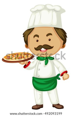 Male chef and italian pizza illustration