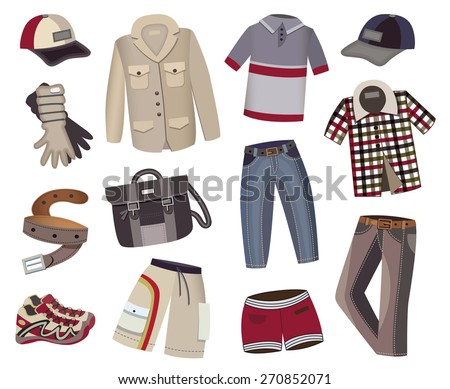 male clothes collection isolated on white background (vector illustration) - stock vector