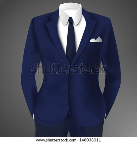 Male clothing suit. Vector Illustration, eps10, contains transparencies. - stock vector