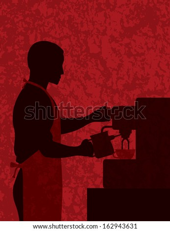 Male Coffee Barista Silhouette Making Espresso and Steaming Milk with Espresso Machine on Red Textured Background Vector Illustration - stock vector