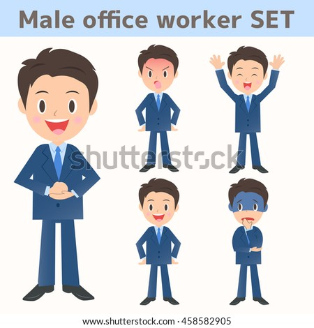 Male company employee facial expression assortment