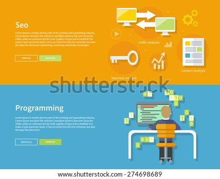 Male computer programmer sitting in a chair in front of computer at table and programming on computer on his workplace. SEO optimization, programming process and web analytics elements in flat design - stock vector