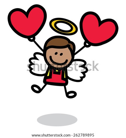 male cupid with love ballon - stock vector