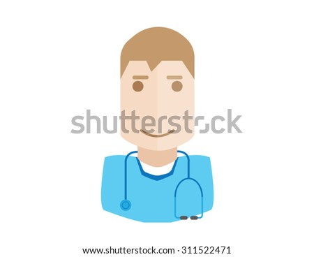 Male doctor avatar icon man with flat design element. Modern style logo vector illustration concept. Isolated on white background.  diagnostic - stock vector