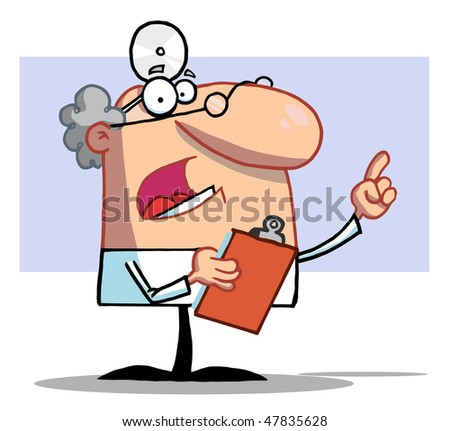 Male Doctor Holding A Clipboard And Pointing - stock vector