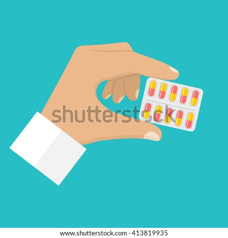 Male doctor holding blister pack of pills in his hands. Healthcare concept. Tablets in hand. Capsules in their hands. Take pills. Pills in the hands of the pharmacist. Vector illustration flat design. - stock vector