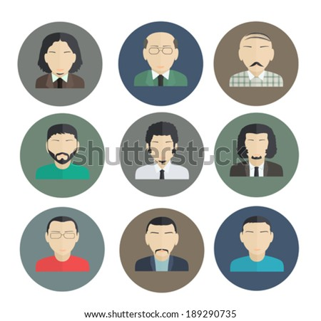 Male Faces, icons of characters in a flat style. - stock vector