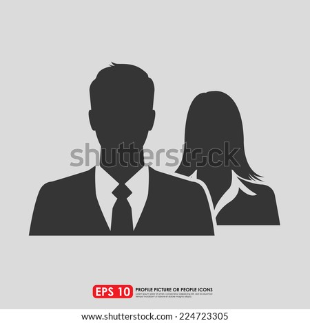Male & female as businesspeople icon  -  couple, partner & teamwork concept - stock vector