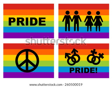 Male & female couple silhouette and peace symbol on rainbow flag background - stock vector