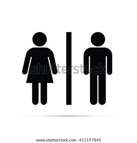 Male & Female Figures Symbol Icon - stock vector