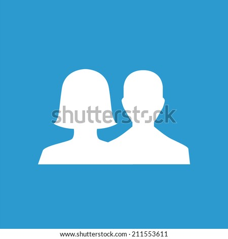 male female icon, isolated, white on the blue background. Exclusive Symbols