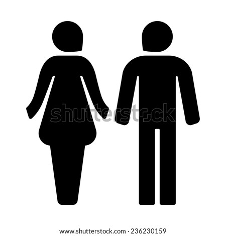 Male female icons for restroom black icon. Vector illustration. - stock vector