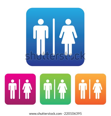 Male Female Restroom Symbol Icon with Color Variations. - stock vector