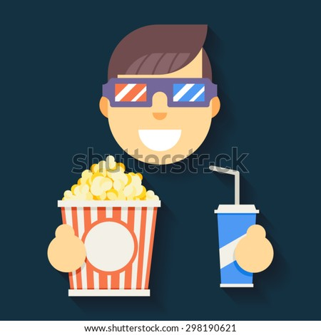 Male Guy Man Boy Character Cinema 3D Glasses Big Popcorn Soda Water Flat Icon Vector illustration - stock vector