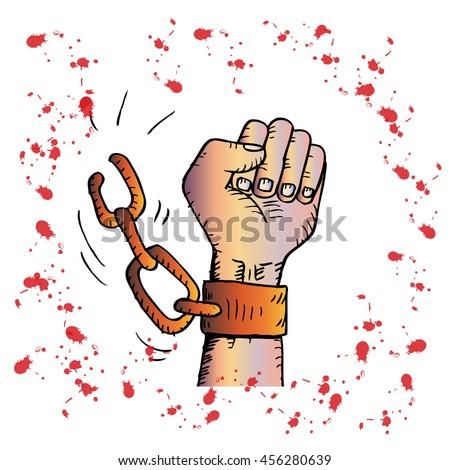 Male hand breaking steel handcuff - stock vector
