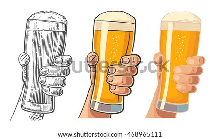 Male hand holding a beer glass. Drawing in three graphic styles. Vintage vector engraving and flat illustration for web, poster, invitation to party oktoberfest festival and birthday.