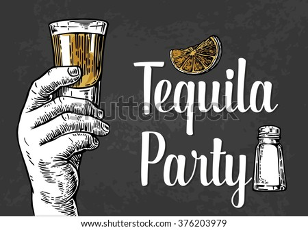 Male hand holding a shot of alcohol drink. Drawn design element. Vintage vector engraving illustration for label, poster, invitation to a tequila party - stock vector