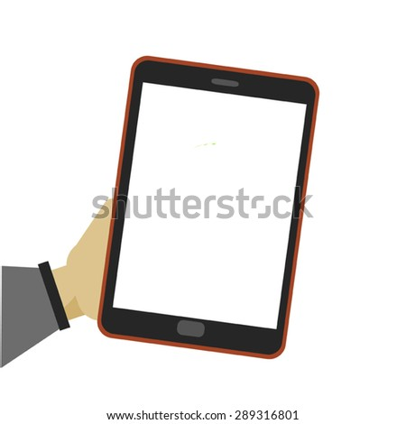 Male hand holding a tablet touch computer gadget with isolated screen - stock vector