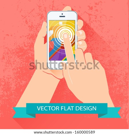 Male hand holding smartphone. Vector flat design. - stock vector