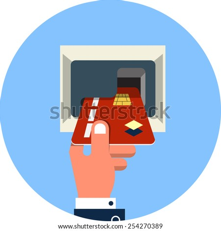 Male Hand Inserts Credit Card Into the ATM - stock vector
