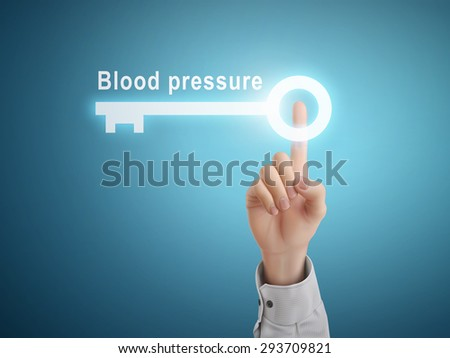 male hand pressing blood pressure key button over blue abstract background - stock vector
