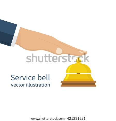 Male hand pressing service bell. Service bell, flat design style. Vector illustration. Customer at reception presses the call button. Bell hotel.
