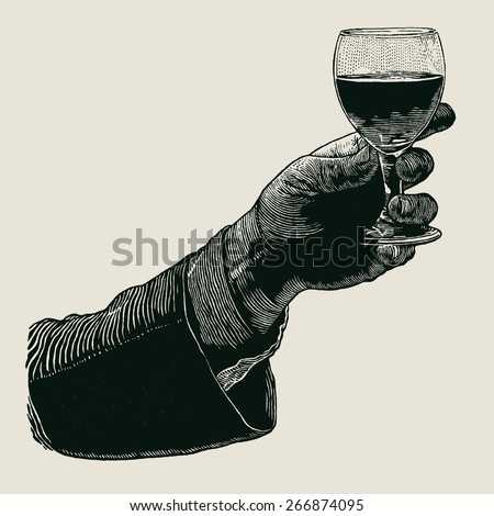 Male hand with a glass of wine. Male hand holding a shot of alcohol drink. hand drawn design element. engraving style. vector illustration