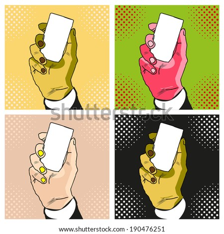 Male hand with red manicure holding a card  - stock vector