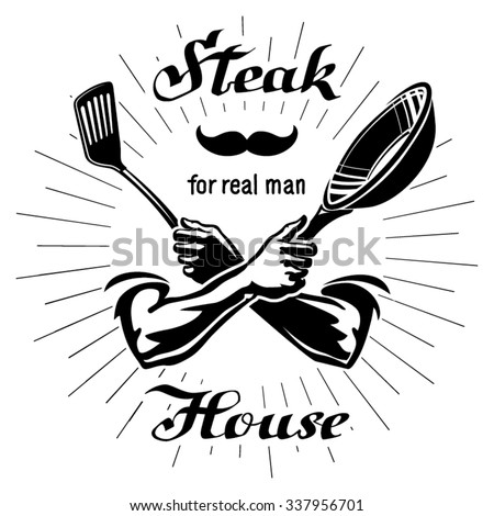 Male hands are holding the utensil - stock vector