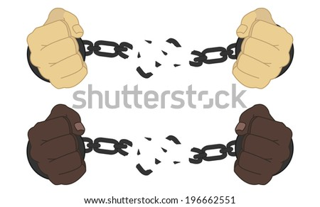 Male hands breaking steel handcuffs - stock vector