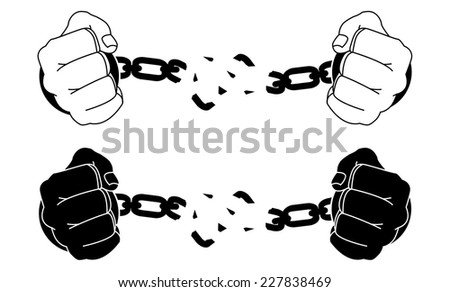 Male hands breaking steel handcuffs. Black and white vector illustration isolated on white - stock vector