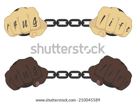 Male hands in steel handcuffs with Thug Life tattoo  - stock vector
