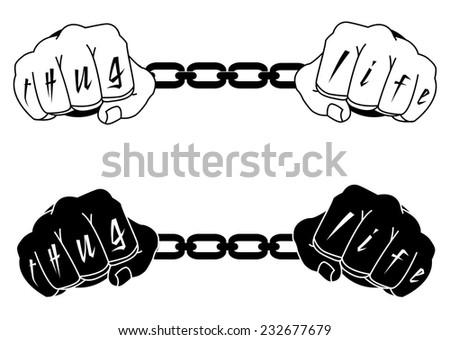 Male hands in steel handcuffs with Thug Life tattoo. Black and white illustration isolated on white - stock vector