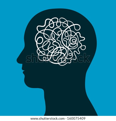 Male head with a convoluted entangled brain of a continuous intertwined cord depicting the complexity of human intelligence, thought and creativity, conceptual vector illustration - stock vector