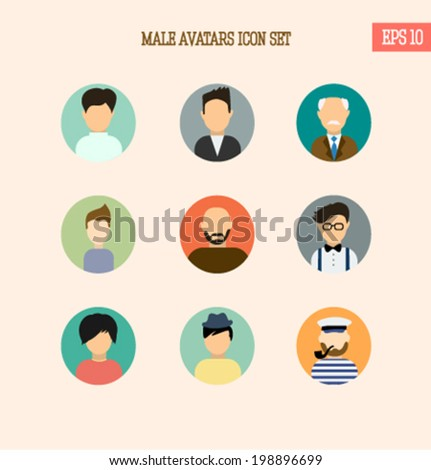 Male icon avatars set in trendy flat design