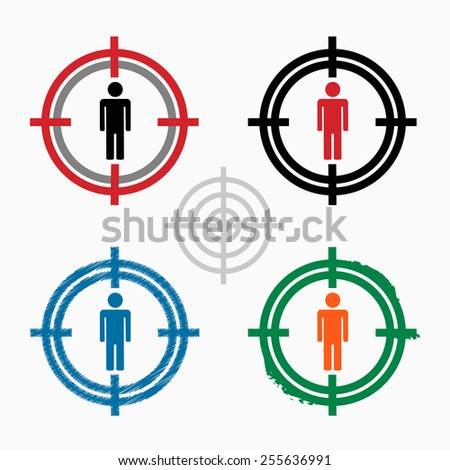Male icon on target icons background. Crosshair icon. Vector illustration. - stock vector