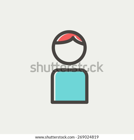 Male icon thin line for web and mobile, modern minimalistic flat design. Vector icon with dark grey outline and offset colour on light grey background. - stock vector