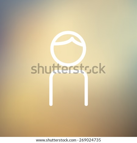Male icon thin line for web and mobile, modern minimalistic flat design. Vector white icon on gradient mesh background. - stock vector