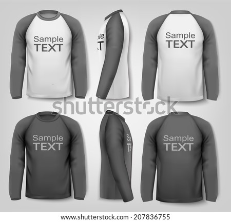 Male long sleeved shirts. Design template. Vector. - stock vector