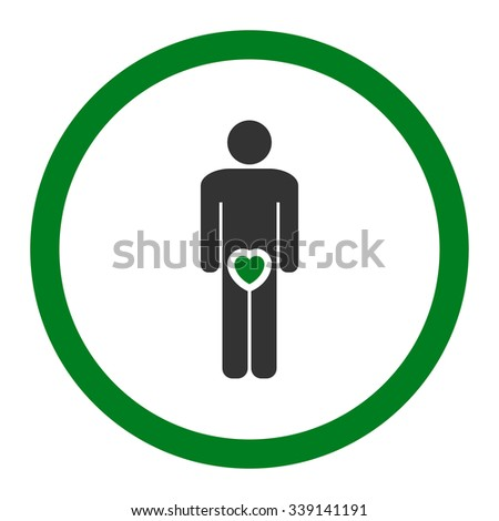 Male Love vector icon. Style is bicolor flat rounded symbol, green and gray colors, rounded angles, white background.