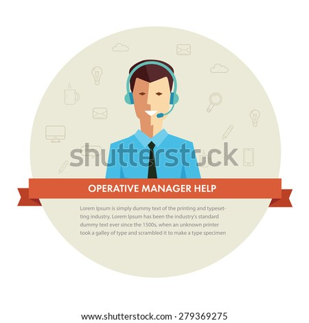 Male manager help banner. Vector - stock vector