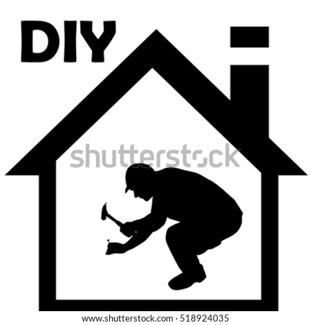 Male manual worker working with hammer on white background