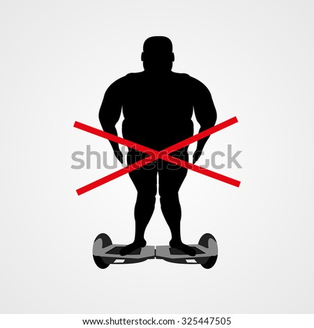Male obesity silhouette on electric scooter vector illustration